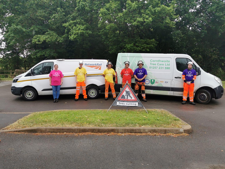 Staff from Network Rail and Cornthwaite Tree Care volunteer at Rainbow Hub